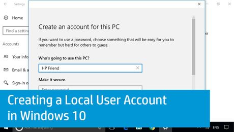 Creating a Local User Account in Windows 10