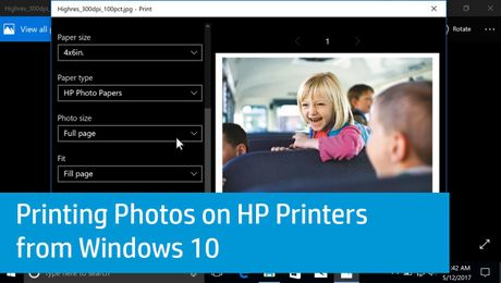 Printing Photos on HP Printers from Windows 10