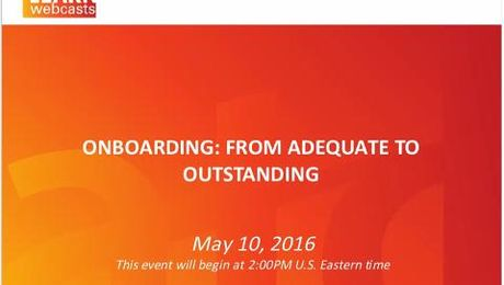 Onboarding: From Adequate to Outstanding
