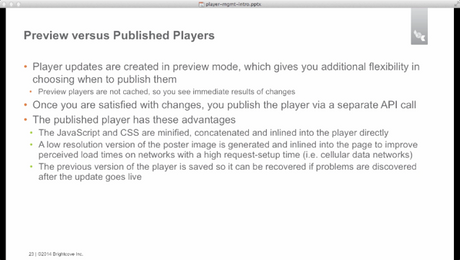 Publish a Player with the Player Mangement API
