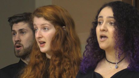 UMass Amherst Chamber Choir performs Alma Mater at Old Chapel