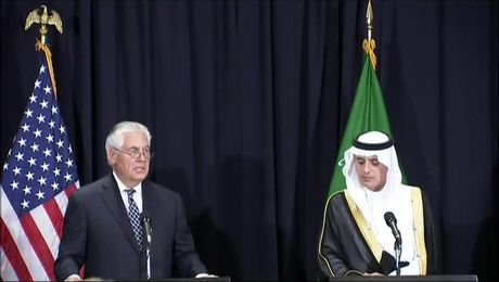 Secretary Tillerson Speaks at a Press Briefing in Saudi Arabia