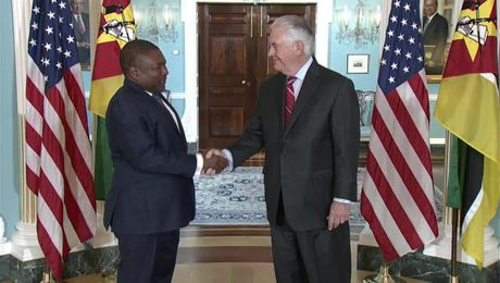 Secretary Tillerson camera spray with Mozambique President Nyusi