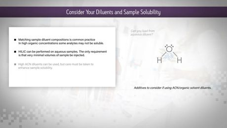HILIC Columns Tips & Tricks: Consider Your Diluents and Sample Solubility
