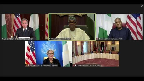 Secretary Blinken's virtually  meeting with Nigerian President Muhammadu Buhari and Foreign Minister Geoffrey Onyeama.