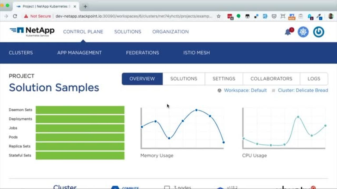 NetApp Kubernetes Service Application Lifecycle Management