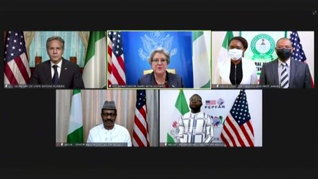 Secretary Blinken participates in a Virtual U.S.-Nigeria Health Partnership Event.