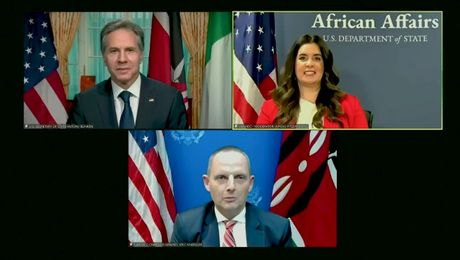 Secretary Blinken participates in a Virtual Town Hall with U.S. Mission Nigeria and U.S. Embassy Nairobi Employees and Family Members.