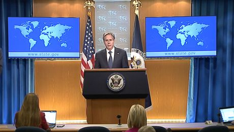 Secretary Blinken delivers remarks to the media on his virtual trip to Mexico and Canada, at the Department of State.