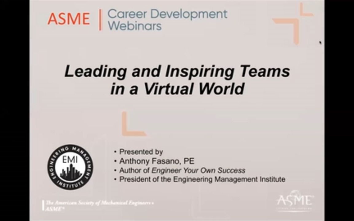 Career Webinar - Leading and Inspiring Teams in a Virtual World