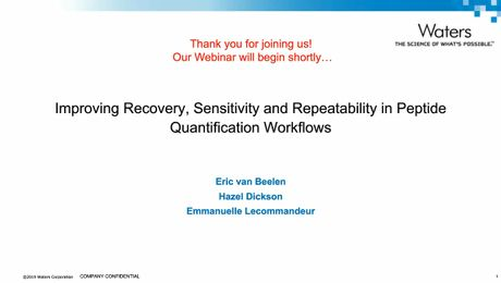 Improving recovery, sensitivity and repeatability in peptide quantification workflows