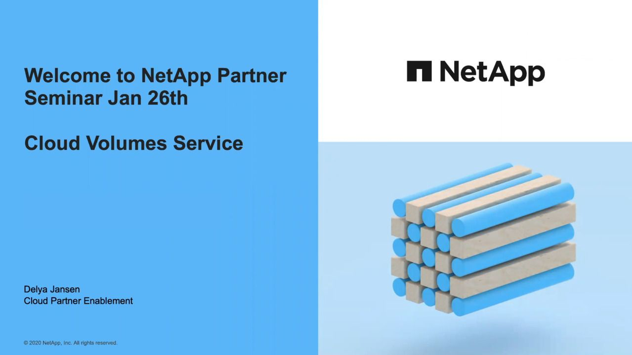 Cloud Partner Solution Training - NetApp Cloud Volumes Service