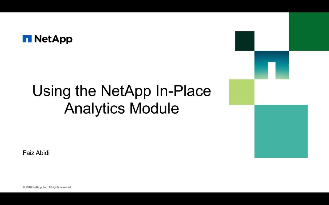 Using the NetApp In-Place Analytics Module Part 1