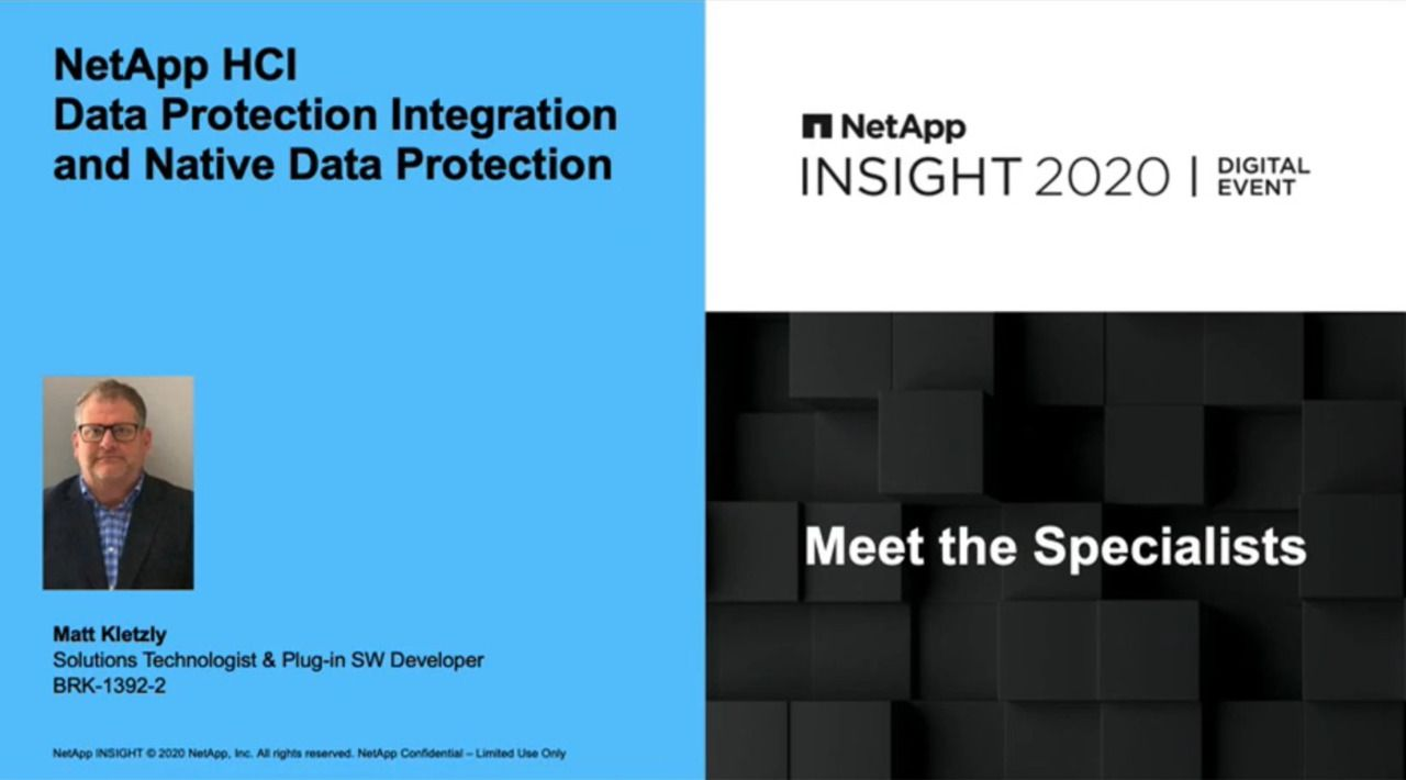 NetApp HCI Data Protection Integration and Native Data Protection