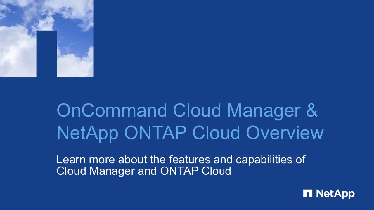 OnCommand Cloud Manager and ONTAP Cloud