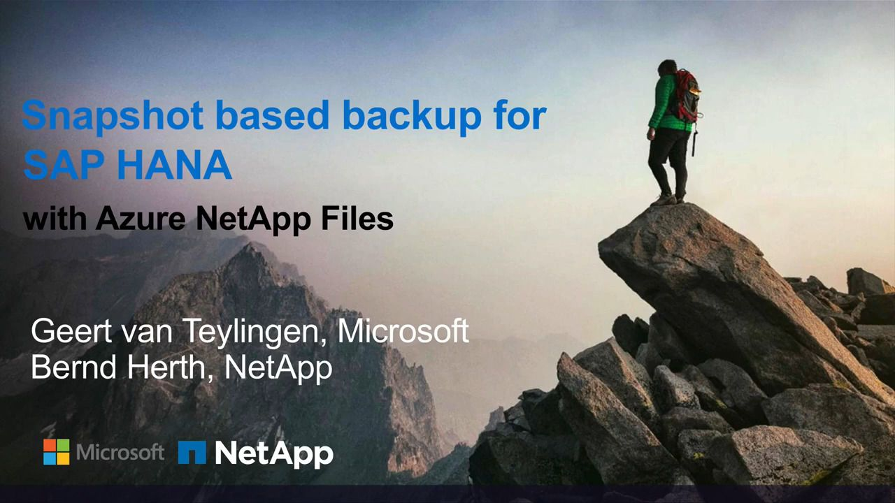 Backup for SAP HANA in Seconds with Azure NetApp Files