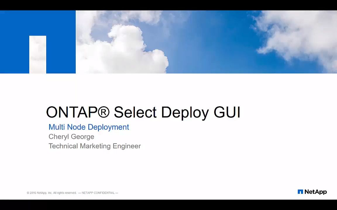 ONTAP Select 9 Four-Node Cluster Deployment Using GUI
