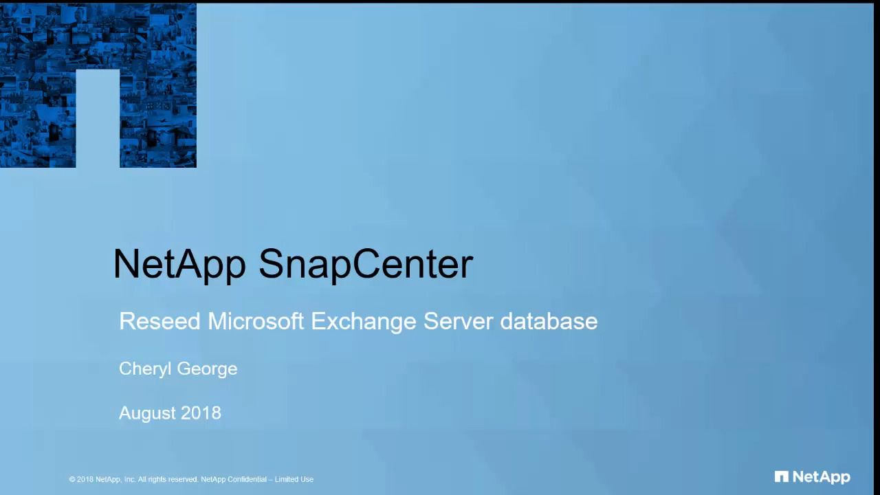 SnapCenter 4.1 Reseed of Database Availability Group (DAG)