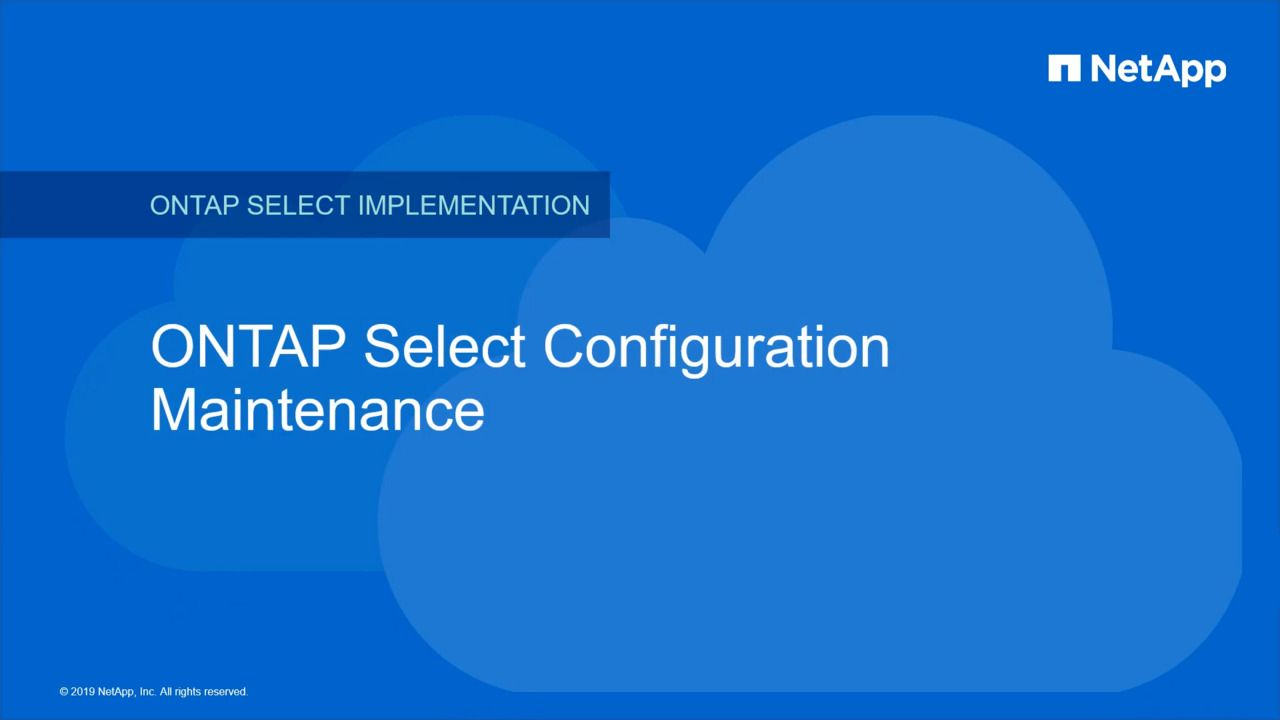 ONTAP Select Configuration Maintenance