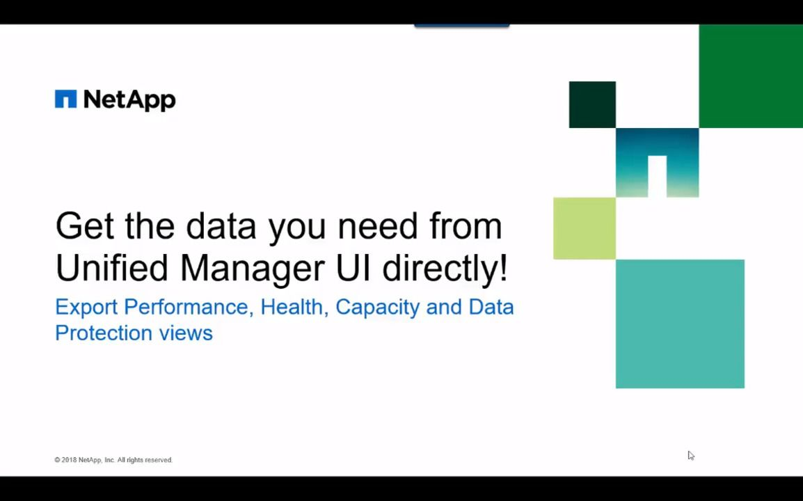 Getting the Data You Need Directly From the Unified Manager UI