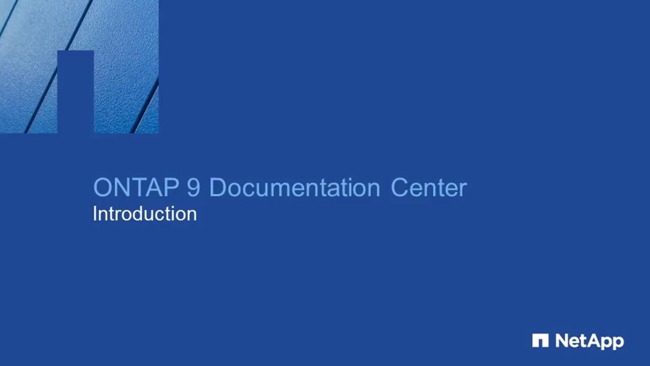 ONTAP 9 Documentation Center