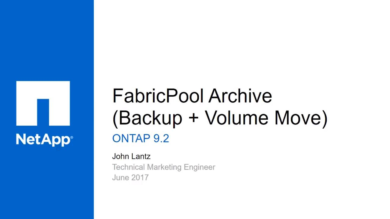 Archiving Volumes with FabricPool