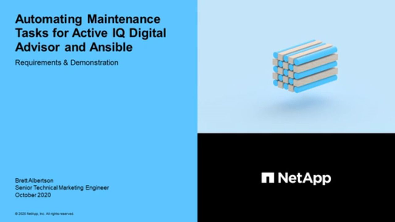 Automating Maintenance Tasks for Active IQ Digital Advisor and Ansible