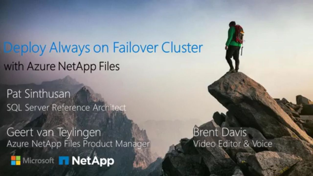 Deploy SQL Server Always On Failover Cluster over SMB with Azure NetApp Files