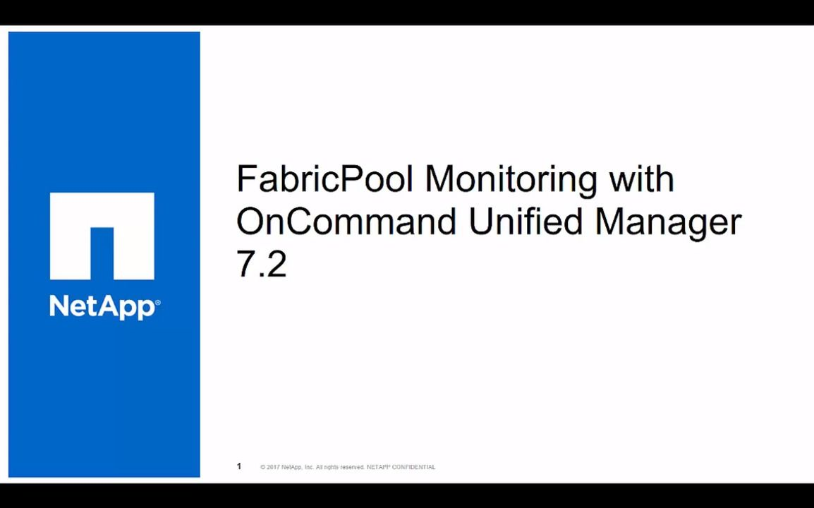 FabricPool Monitoring with OnCommand Unified Manager 7.2