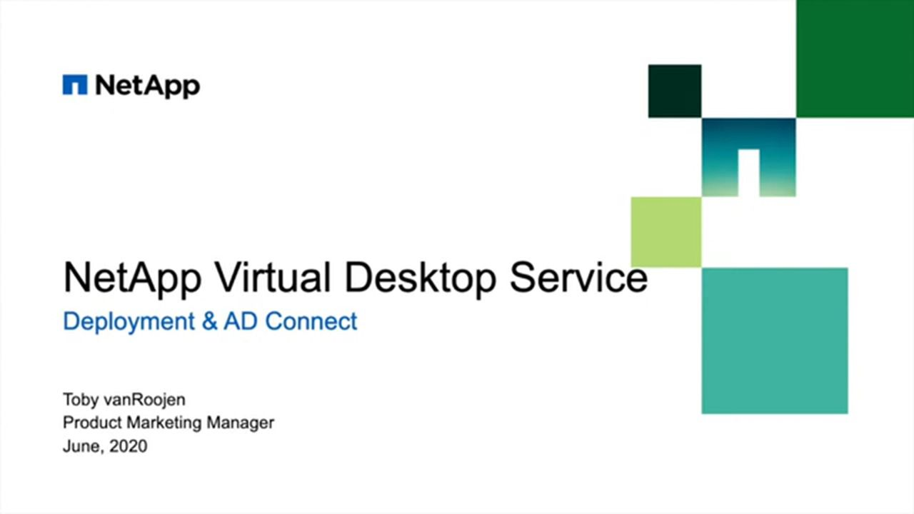 WVD and RDS Setup in Azure and AD Connect with NetApp Virtual Desktop Service v5.4