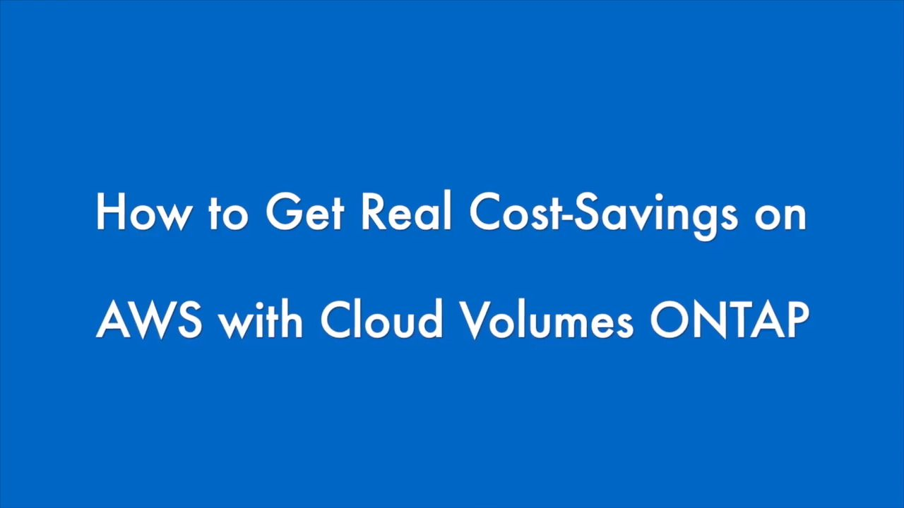 Calculate AWS Costs with Cloud Volumes ONTAP