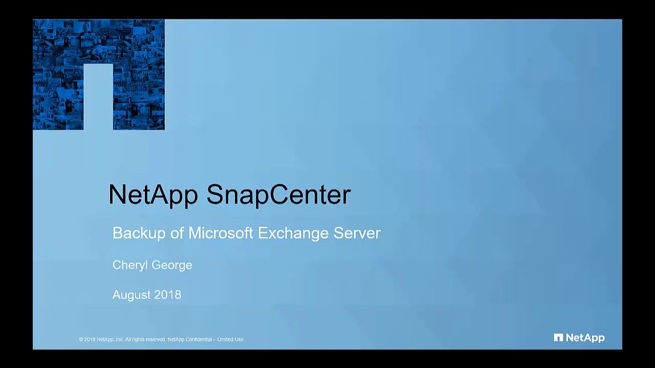 SnapCenter 4.1 Backup of Microsoft Exchange Server Database