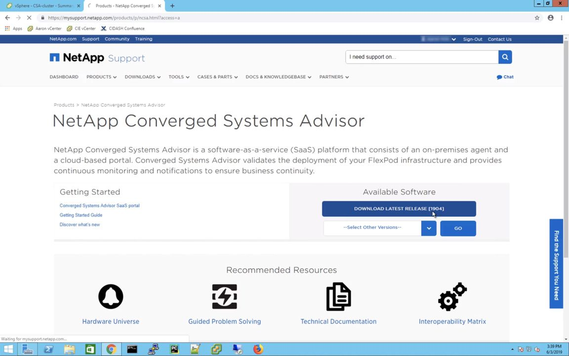 Getting Started with Converged Systems Advisor