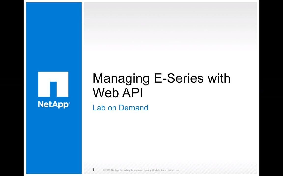 Managing E-Series with Web API - Introduction