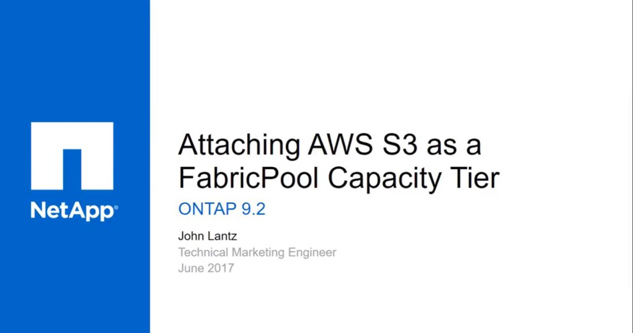 Attaching Amazon S3 as a FabricPool External Capacity Tier