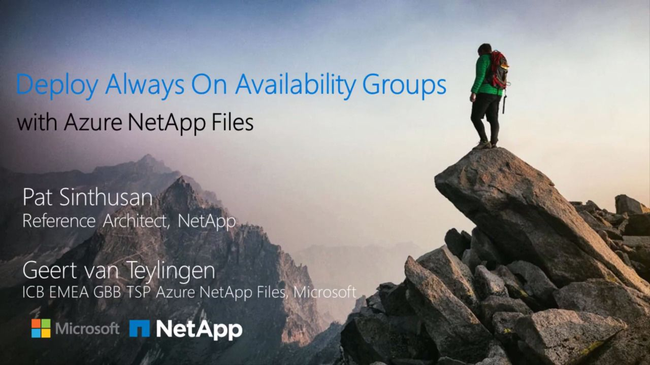 Deploy Always On Availability Groups With Azure NetApp Files