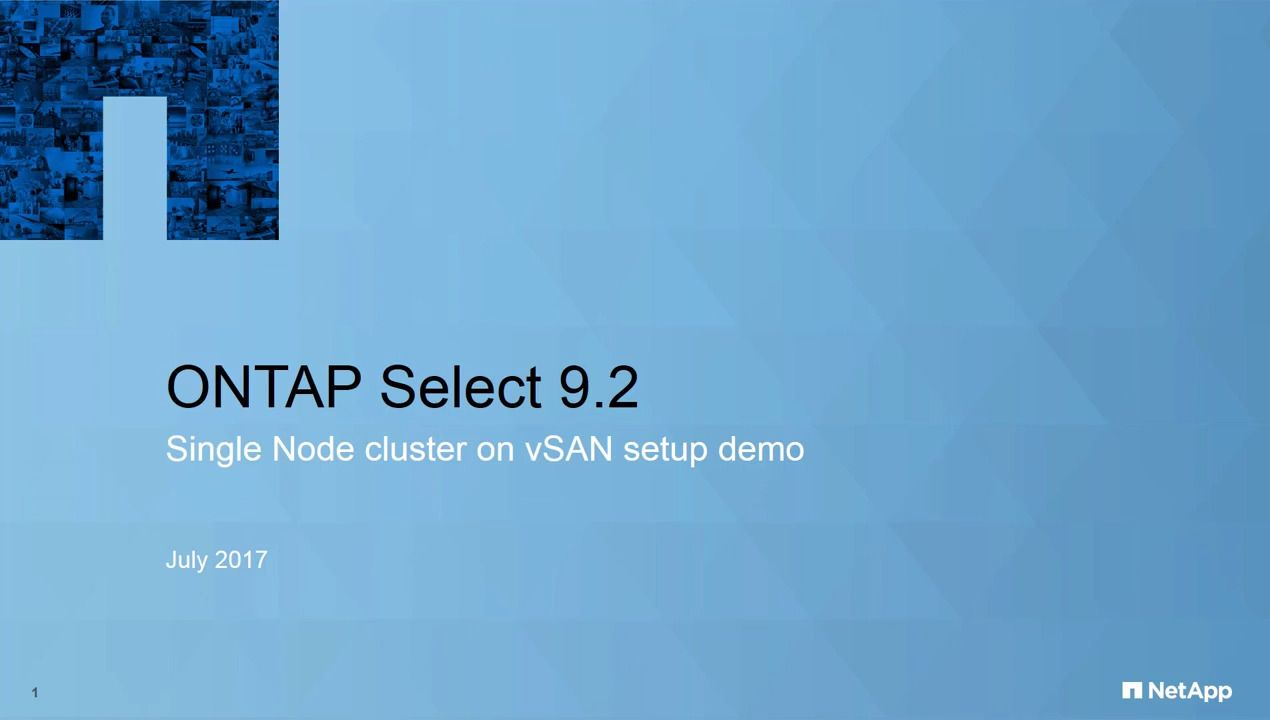 Creating an ONTAP Select Cluster on vSAN