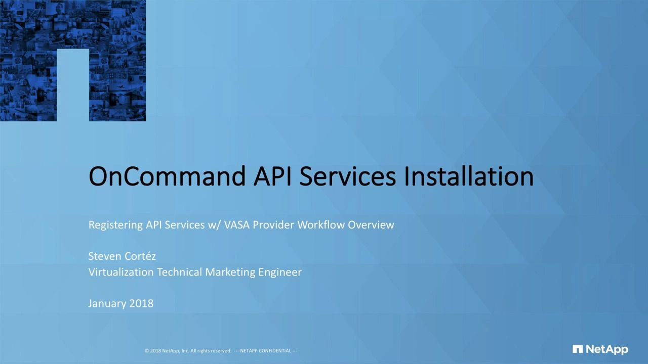 OnCommand API Services Installation Workflow Overview