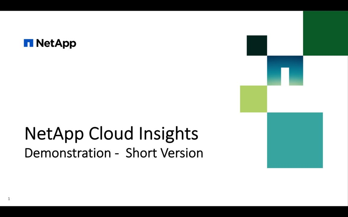 NetApp Cloud Insights Demonstration