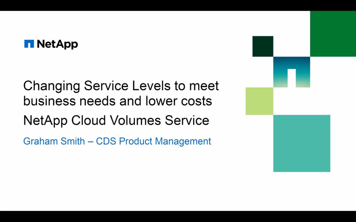 Using Service Levels to Meet Business Needs and Lower Costs in NetApp Cloud Volumes Service