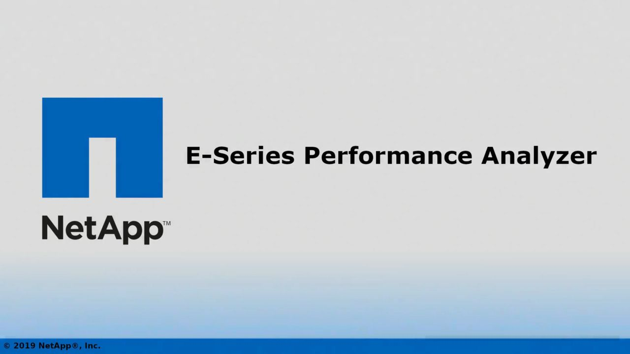 NetApp E-Series Performance Analyzer 2.0