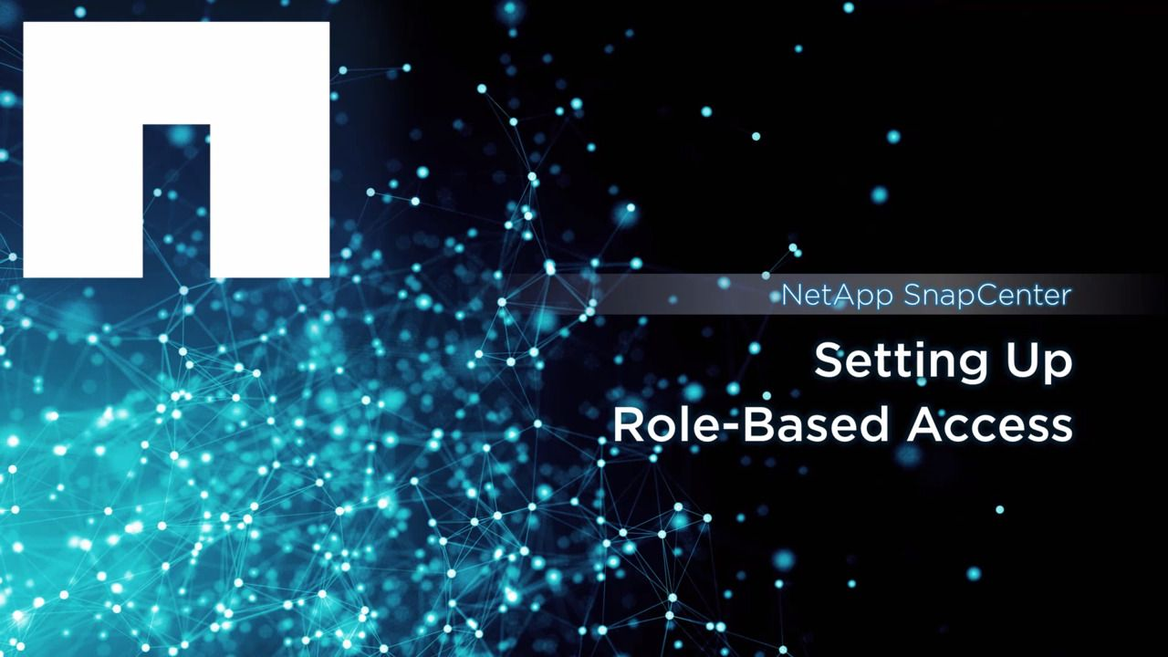 NetApp SnapCenter: Setting up Role-Based Access