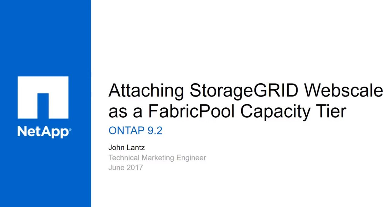 Attaching StorageGRID Webscale as a FabricPool External Capacity Tier