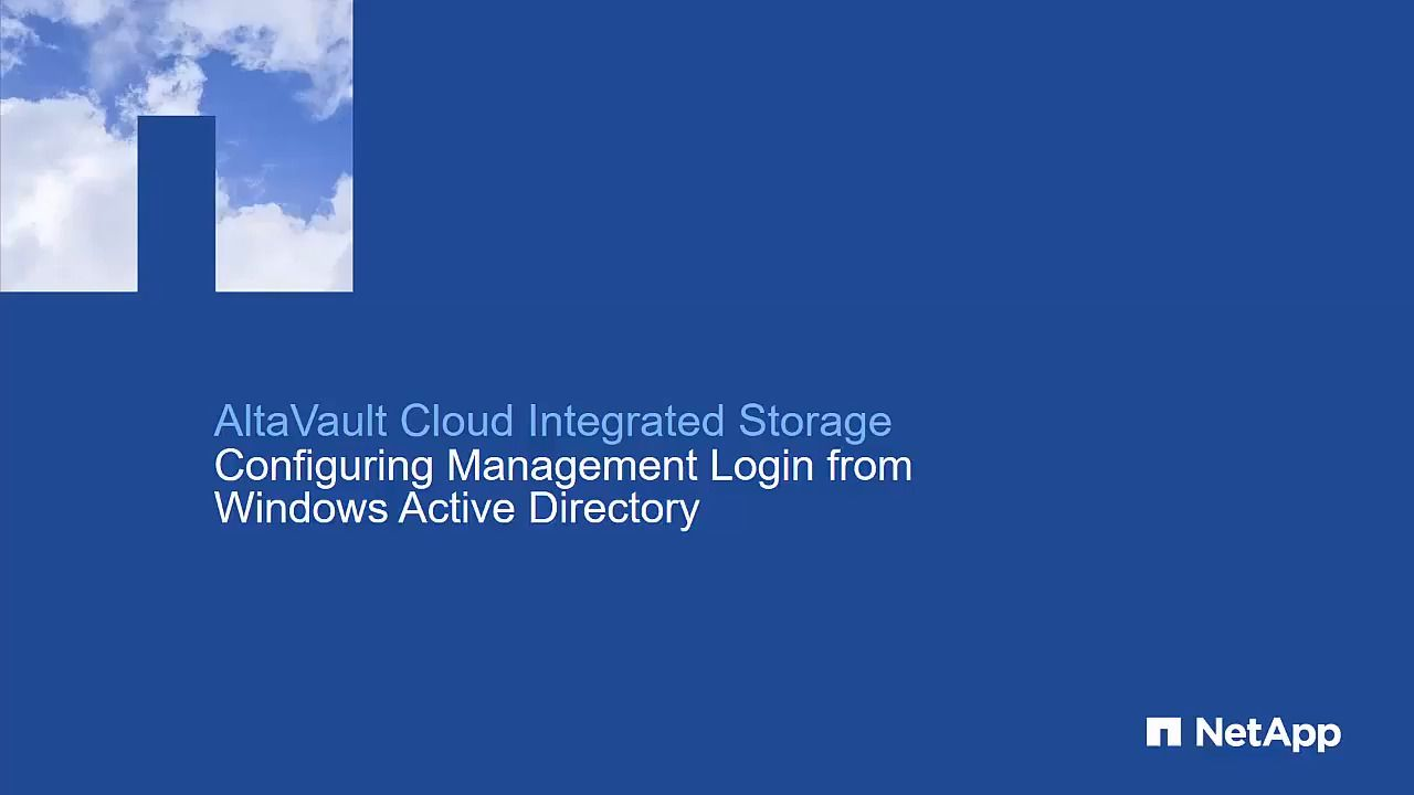 AltaVault - Configuring Management Login From Windows Active Directory