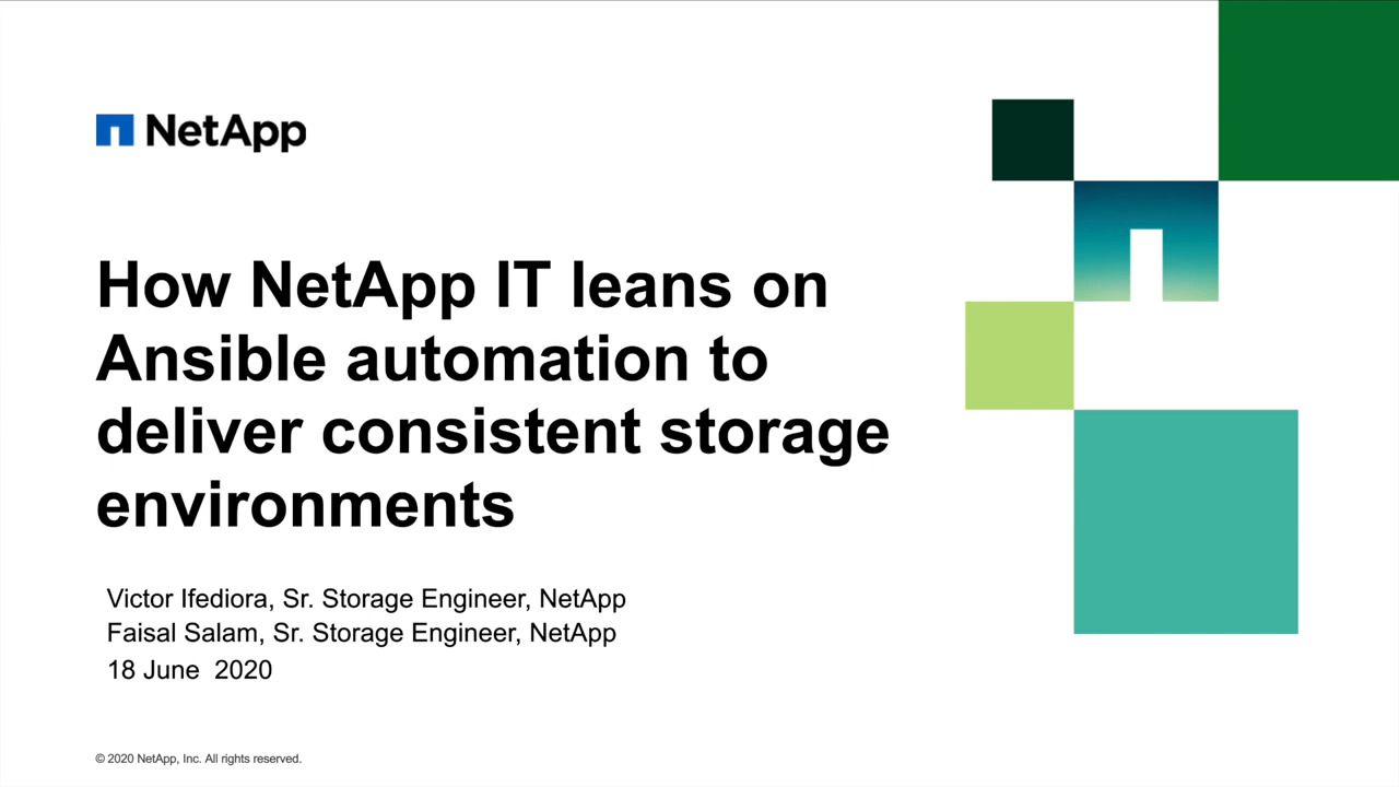 How NetApp IT Leans on Ansible Automation to Deliver Consistent Storage Environments