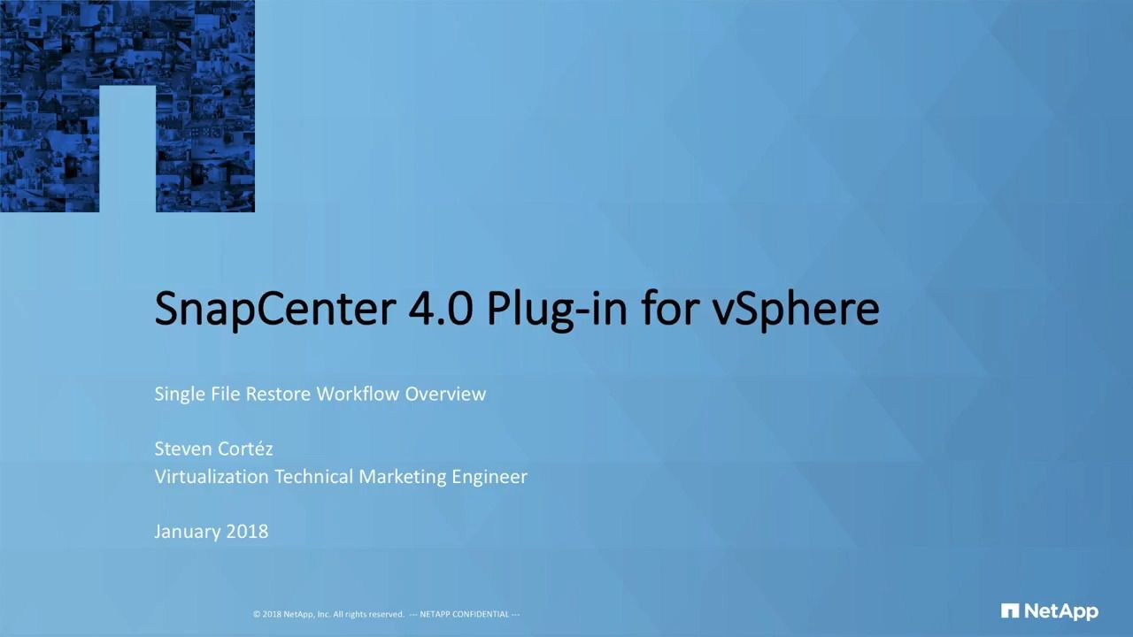 SnapCenter 4.0 Plug-In for vSphere Single File Restore Workflow Overview