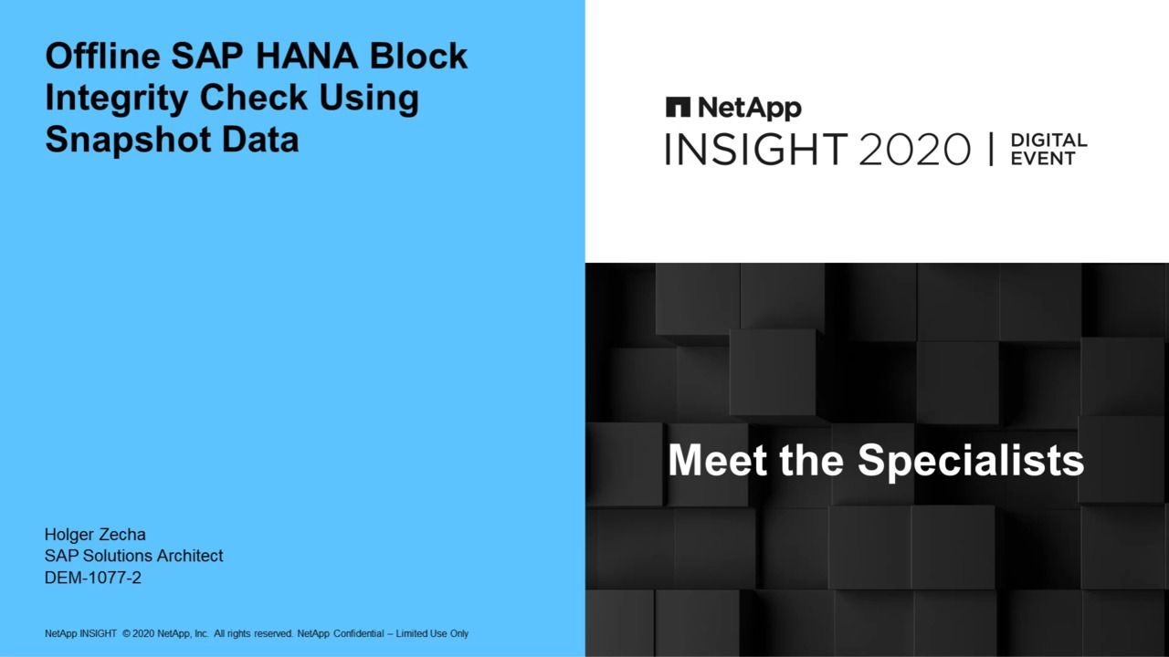 Offline SAP HANA Block-Integrity Check Using Snapshot Data