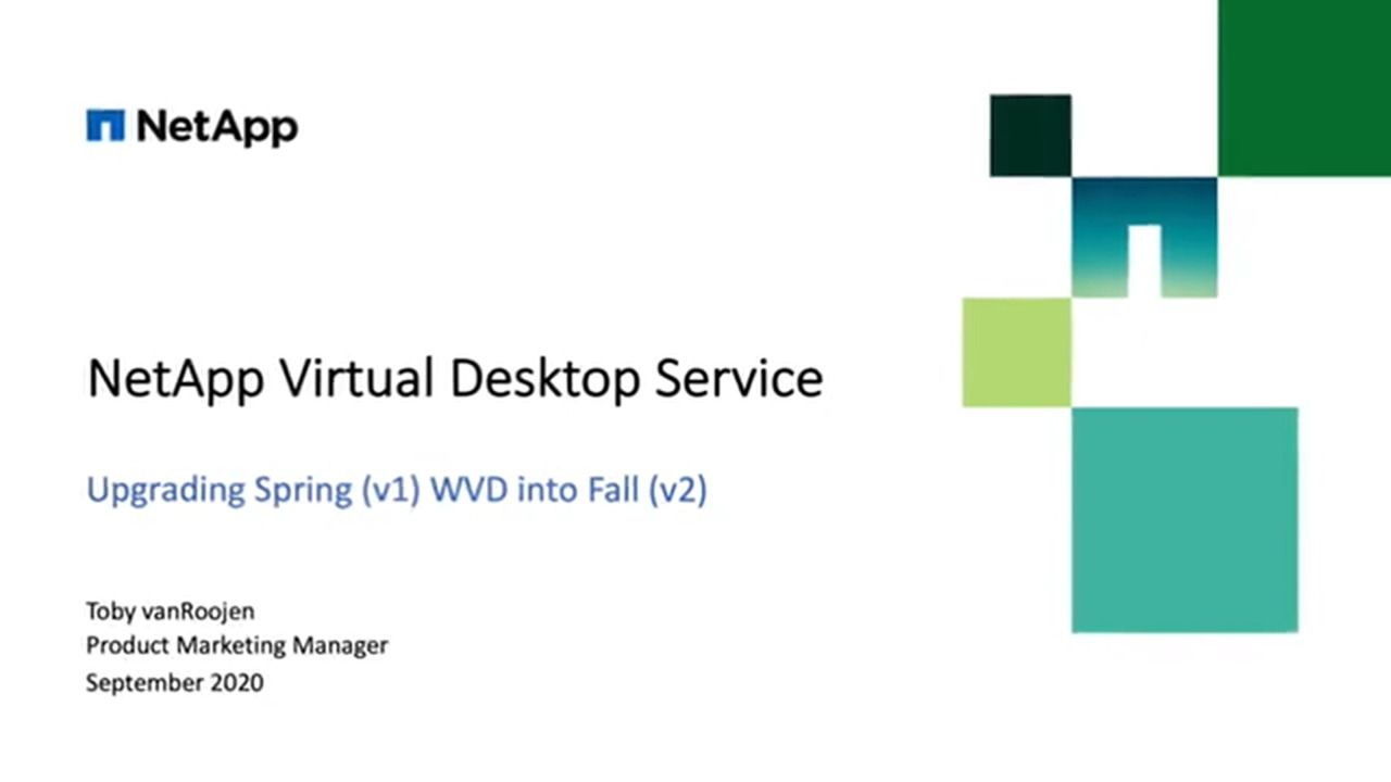 Upgrade WVD v1 to v2 with NetApp VDS