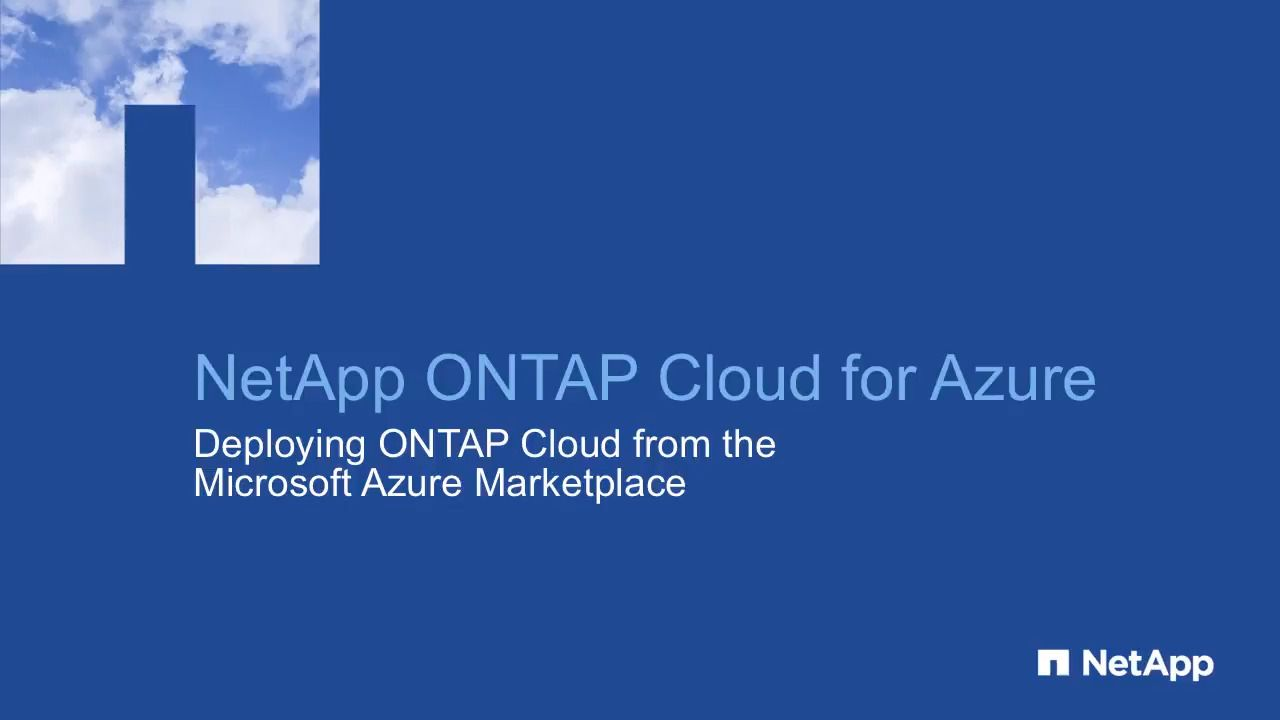 Deploying ONTAP Cloud in Microsoft Azure