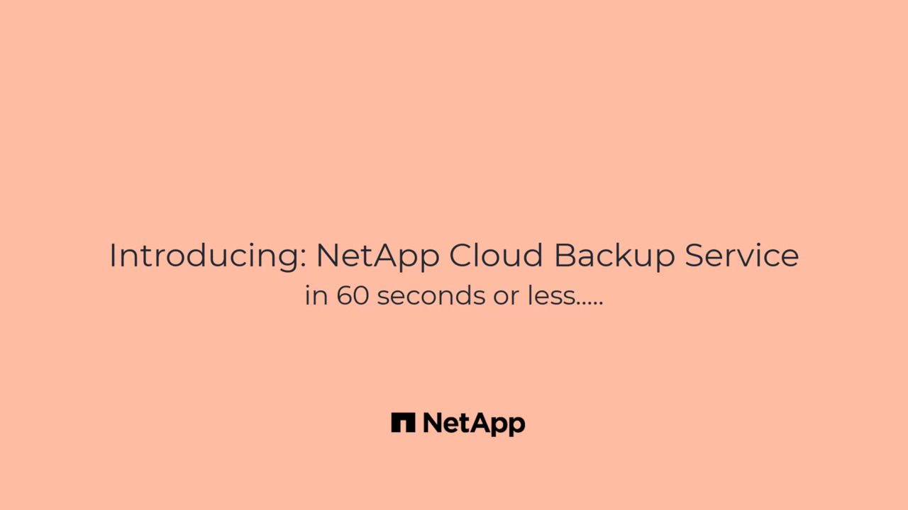 NetApp Cloud Backup Service in 60 seconds or less